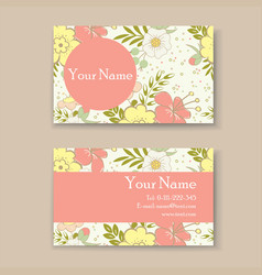 Business card with floral background vector