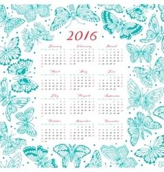 Calendar 2016 year with decorative butterflies vector
