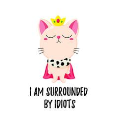 cartoon doodle kitten in a crown cat king vector image
