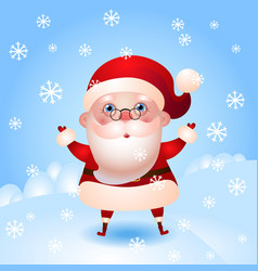cartoon santa claus with snowflakes eps10 vector image