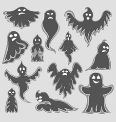 cartoon spooky ghost character set vector image