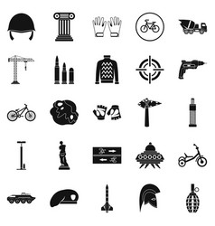 Casque icons set simple style vector