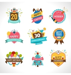 Celebration Emblems Set vector image