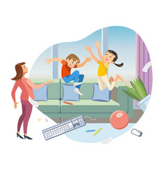 children making mess in living room cartoon vector image