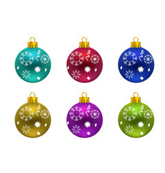 christmas balls with snow flakes typography vector image