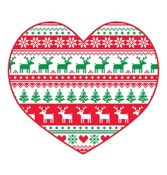 Christmas card - red and green nordic pattern vector