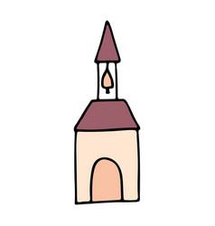 church cartoon hand drawn icon vector image