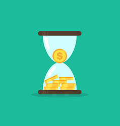 coins in hourglass money is time concept vector image