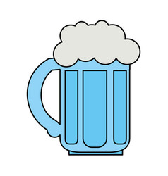 Color image blue beer jar glass with foam vector