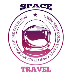 Colorful space travel label design with astronaut vector