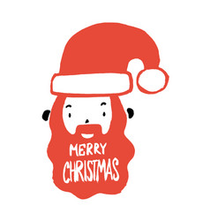 cute santa claus head with merry christmas text vector image