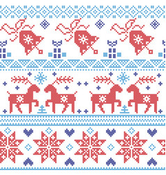 Dark and light blue and red Scandinavian pattern vector image