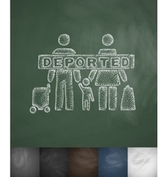 Deported family icon Hand drawn vector