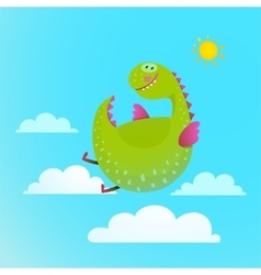 Dragon flying in sky colorful cartoon for kids vector