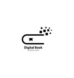 E book logo design with monoline style vector