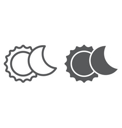 eclipse line and glyph icon space and astronomy vector image