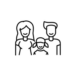 family icon line sign father mother and daughter vector image