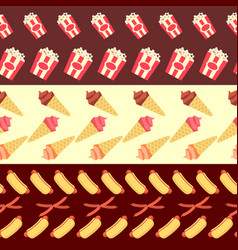 Fast food seamless borders collection - ice cream vector