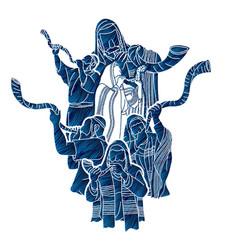 feast trumpets jewish people blowing shofar vector image