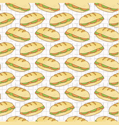 filled bread baguettes seamless pattern vector image