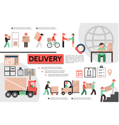 flat courier service template vector image