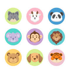 Flat lovely animal avatar collection vector