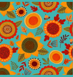 Folk seamless pattern with autumn flowers leaves vector
