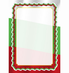 Frame and border of ribbon with bulgaria flag vector