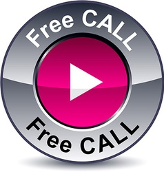 Free call round button vector