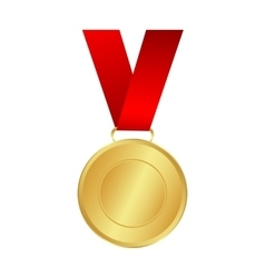 Gold medal winner of the prize- on a red ribbon vector image