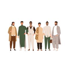 group portrait of arab muslim people modern saudi vector image