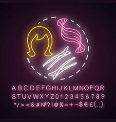Hair extensions neon light concept icon clip vector
