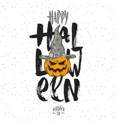 Halloween with pumpkin vector image