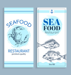 Hand drawn seafood restaurant banner set vector