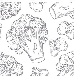 Hand drawn seamless pattern with broccoli vector