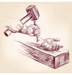 Hand of Jesus Christ on the cross llustration vector
