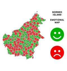 Happiness borneo island map mosaic of vector