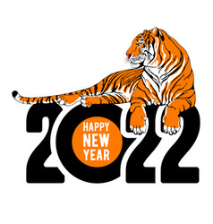 Happy chinese new year logo with lying tiger vector