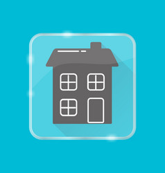 House silhouette icon in flat style on transparent vector