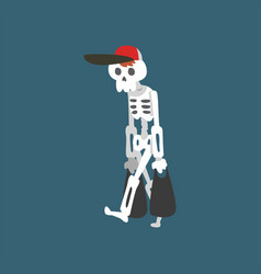 human skeleton wearing baseball cap walking vector image