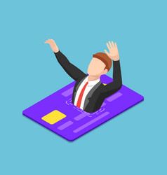 isometric businessman drowning into credit card vector image