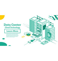 isometric working data center full rack vector image