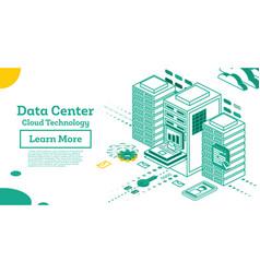 Isometric working data center full rack vector