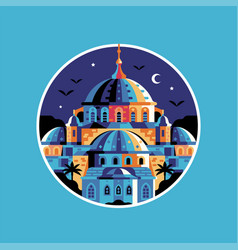 istanbul sultanahmet blue mosque circle icon vector image