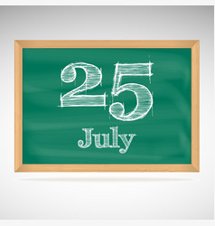 July 25 day calendar school board date vector