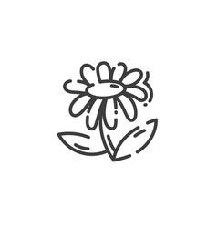 Line art icon flower isolated on white vector