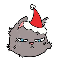 Line drawing a tough cat face wearing santa hat vector
