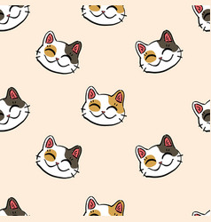 lucky cat pattern on beige background vector image