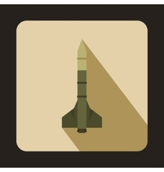 Military rocket weapon icon flat style vector