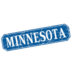 Minnesota blue square grunge retro style sign vector